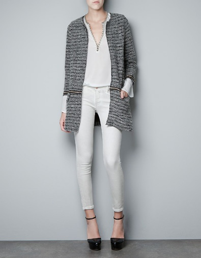 BOUCLE KNIT COAT WITH CHAINS - Coats - Woman - ZARA
