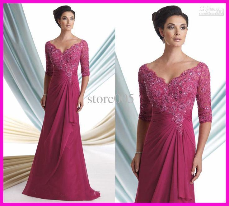Wholesale Fuschia One Piece Three Quarter Sleeve Beaded Lace Mother of Bride Dresses Gowns M1220, Free shipping, $100.8-120.96/Piece | DHgate