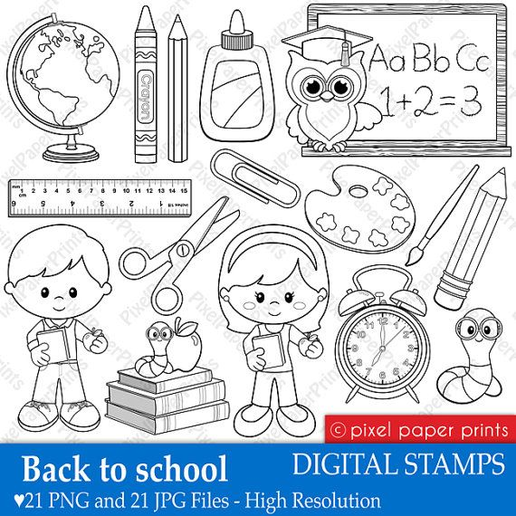 Back to school - Digital Stamps - Clipart line art