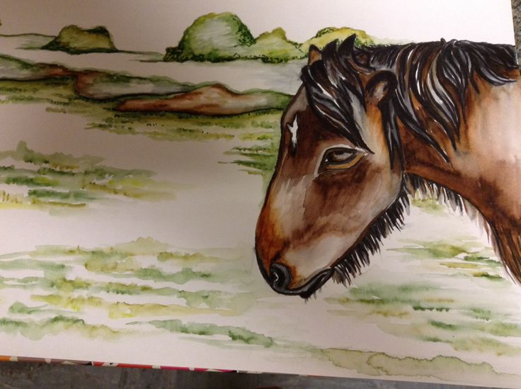 Forest ponies with watercolour pens