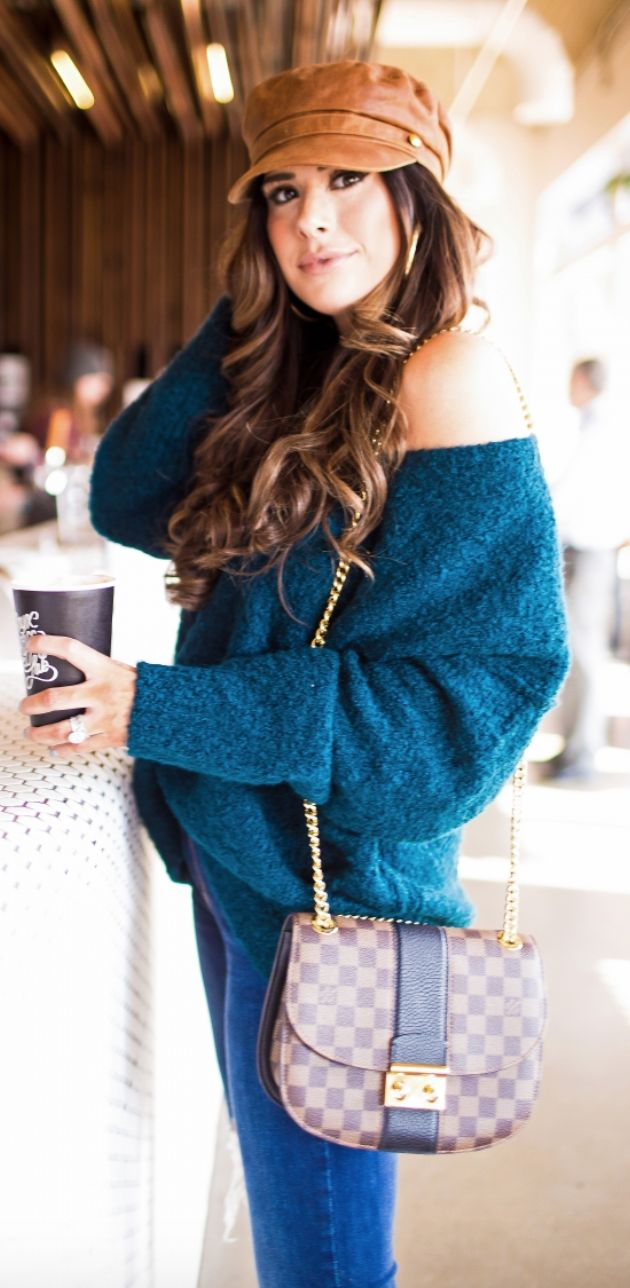 relaxed teal sweater