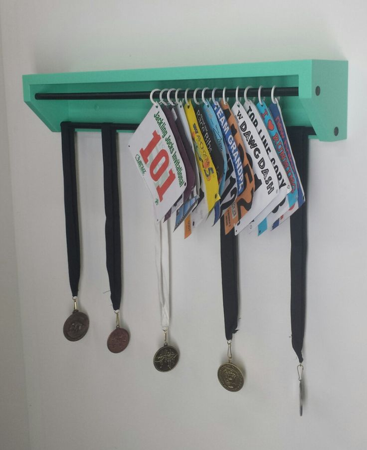 Trendy Running display for race bibs and medals-Aqua. (pat.pend.R1137542). Customize your display how YOU want it. Pick the color scheme. by TRENDYTROPHYDISPLAY on Etsy