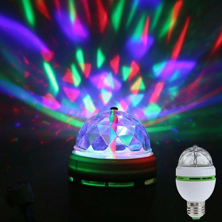 RGB LED Stage Light Bulb E27 3W Colorful Auto Rotating Party Lamp Disco Club Bar…