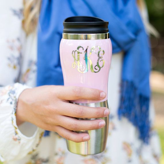 Monogrammed Stainless Travel Thermos  Coffee by CHLOEANDMAYFAIR