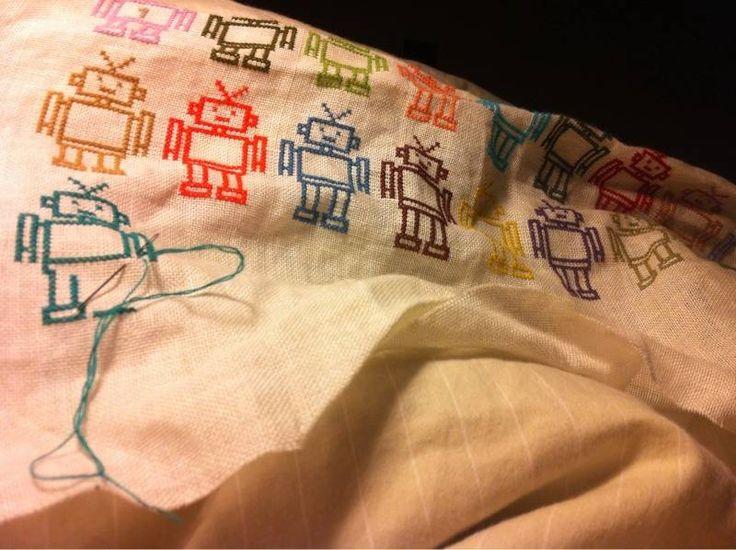 Cross stitch robots: Diy Hair, Food Diy, Stitches D I I, Needle Thread, Stitches Robots, Random Crosses, Crosses Stitches, Stitches Diy, Cross Stitches