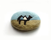 Felted Soap Blue and Beige with Camel (White Tea and Ginger)