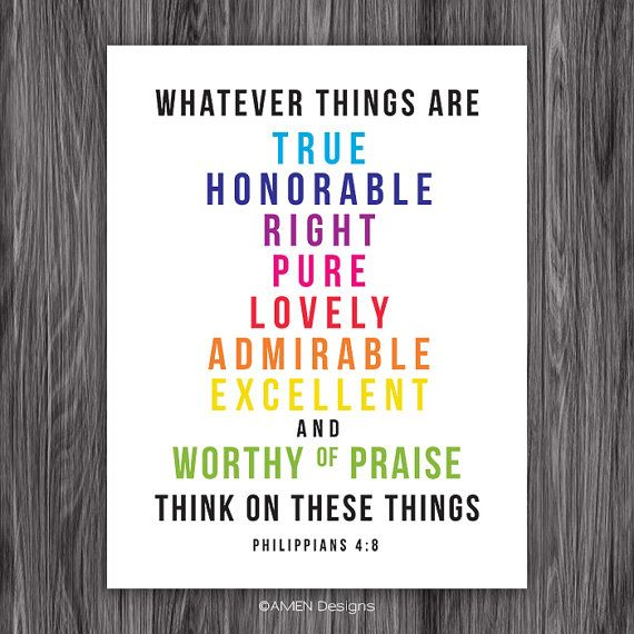 Philippians 4:8. PRINTABLE DIY Christian Poster. Dwell on these things. 8x10. Bible Verse. on Etsy, $6.50