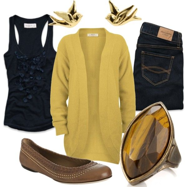 .: Navy Mustard, Fashion 1, Outfit Ideas, Wear Fashion Outfit, Clothing Fal, Casual Wear, Dreams Wardrobes, Mustard And Navy Blue, Miranda7Rose Polyvore Com