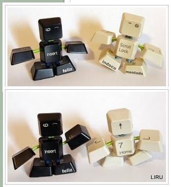 :-)little robots outta keyboard keys i love this