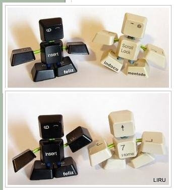 :-)little robots outta keyboard keys i love this