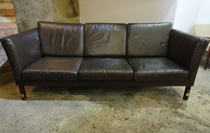 Vintage Leather 3 Seater Sofa w/ Solid Wooden Legs - Danish 1960 s/70 s - 195cm