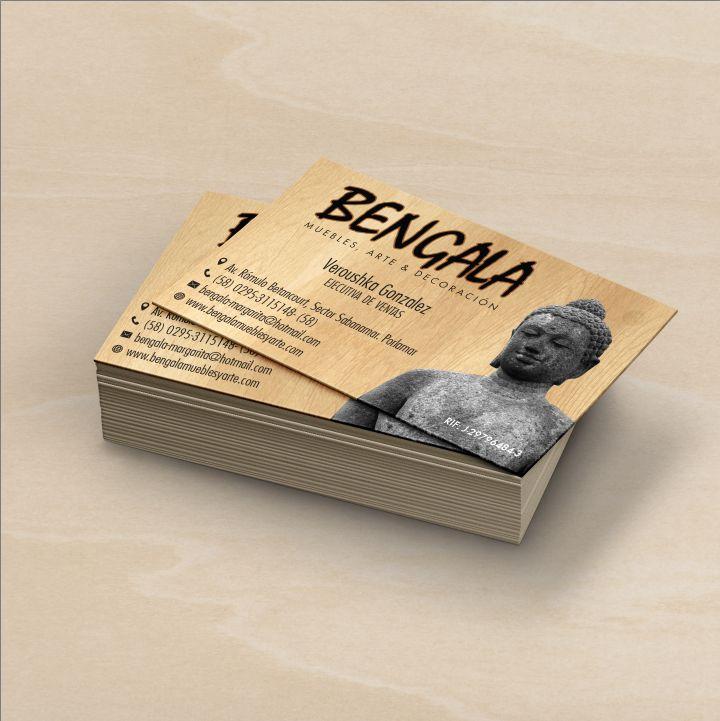 Tarjetas de presentación para Bengala Muebles diseñadas e impresas por Ambros Imprenta Digital y Estudio de Diseño.
