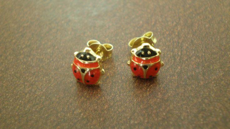 Ladybird - 14 Carat Gold, Stud Earrings by IoJewellery on Etsy