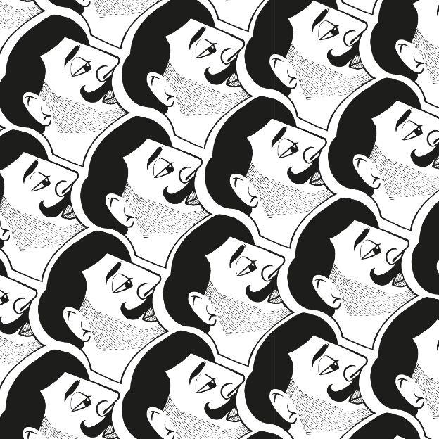 Gentleman by Neetje @neetjenl  #pattern #blackwhite #faces #print