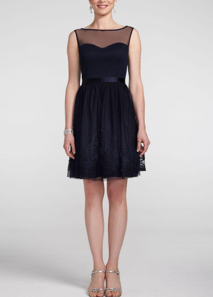 Short Mesh Sleeveless Illusion Neckline Bridesmaid Dress with Tie Back - Deep Navy, XL
