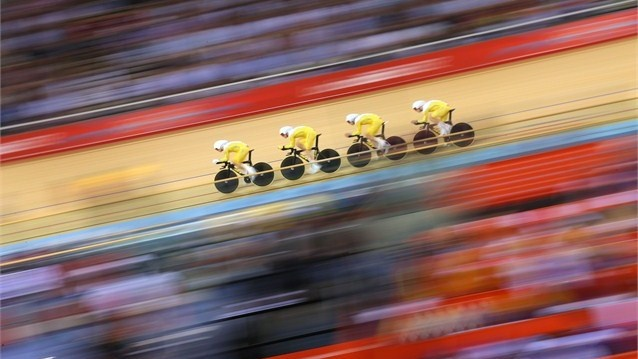 Day 7 - Australia's Jack Bobridge, Glenn O'Shea, Rohan Dennis and Michael Hepburn finished with silver in 3:54.581. Great Britain won gold setting a new world record. Men's Team Pursuit Photos - Olympic Cycling track   London 2012 Olympics