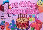 1 Yaş Kız Doğum Günü Bez Afiş 50x70 Ebatında 1 Yaş Doğum Günüme Hoşgeldiniz Banner