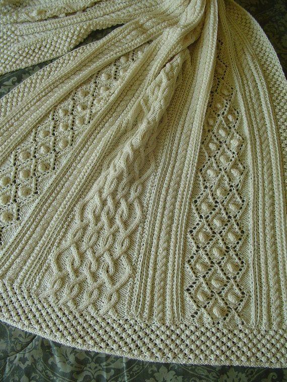 Aran Knit Afghan - Handknit Afghan - Bobbles and diamonds - No Fringe - Wheelchair Friendly - 3