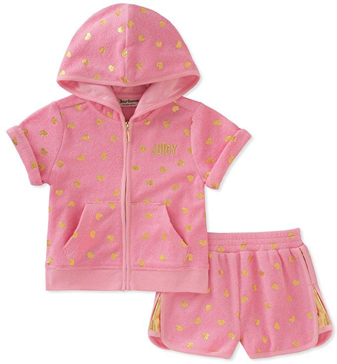 Juicy Couture Toddler Girls 2 Piece Hoodie And Short Set Pink 2t Juicy Couture Baby Girls Couture Juicy Couture