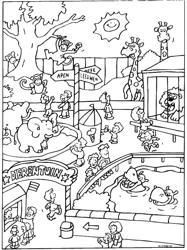 Free Zoo Coloring Page Pages 4 Printable