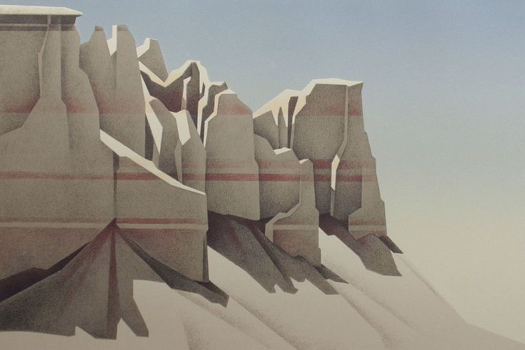"""""""Coalmine Canyon"""". by Ed Mell. In 1967, Mell took a job as junior art director for a prominent New York advertising firm. Soon after, he and his friend Skip Andrews established their own illustration firm, Sagebrush Studios, which became an immediate success, with major corporate clients such as Cheerios and RCA. 