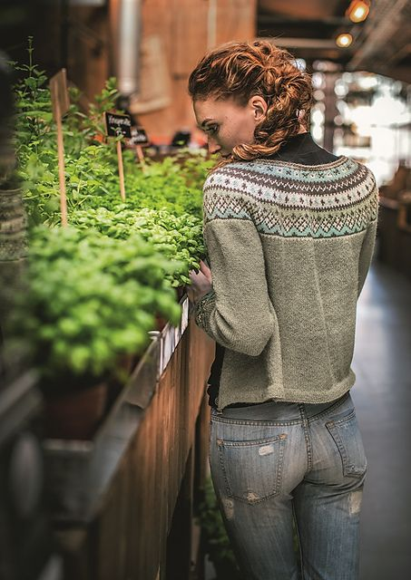 The Flamingo Round Yoke Cardigan is part of the Dale Garn 320 Urban Retro collection. It is available in English only as an individual pattern for purchase through Ravelry or at www.DaleGarnNorthAmerica.com.
