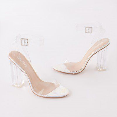 92160bdd2f9 Alia Strappy Perspex High Heels in Iridescent With Clear Straps ...