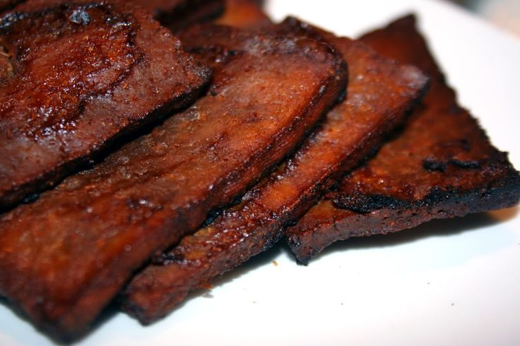 Tofu Jerky! This vegan tofu jerky is sweet, salty, chew and simply mouth watering. Use the food dehydrator to dry!