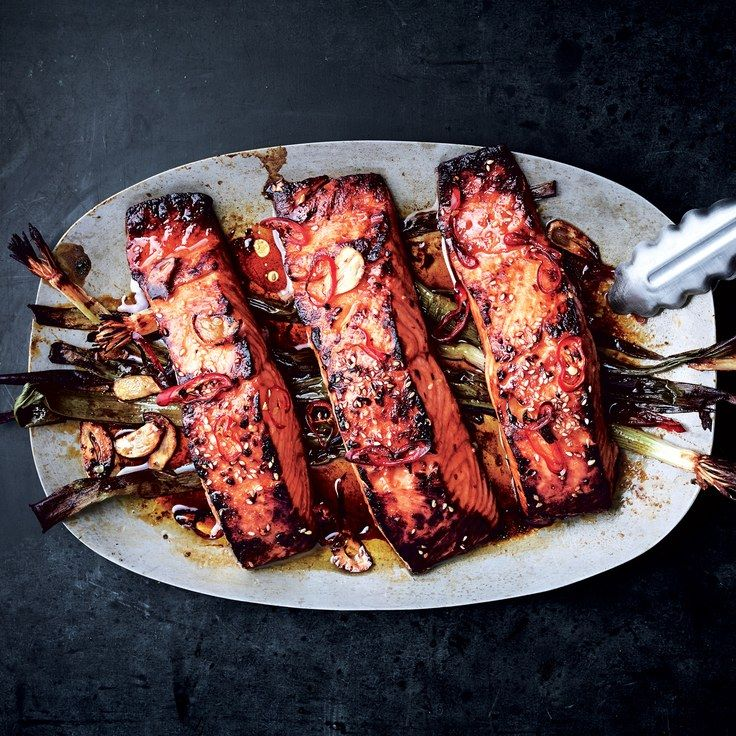 Broiled Salmon With Scallions and Sesame | #main #fish #salmon