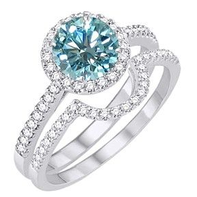 3.5 Ct Light Blue Moissanite Halo Bridal Set Engagement Ring In 10K White Gold by JewelryHub on Opensky