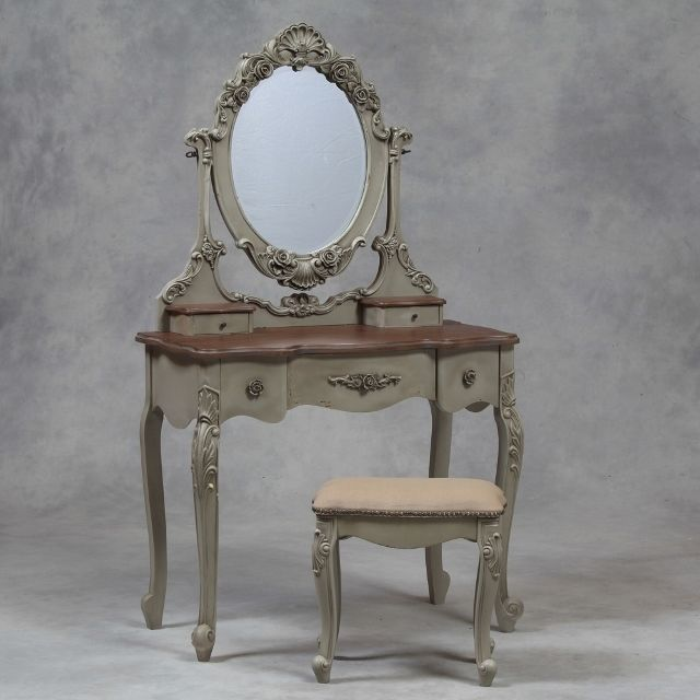 Ebay French Grey Dressing Table Mirror & Stool Set with Wooden Top