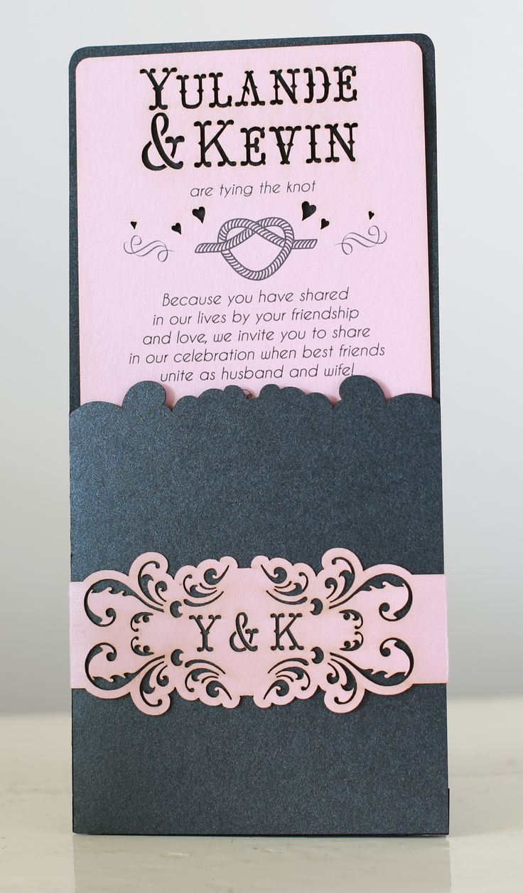 Laser cut invite with strap