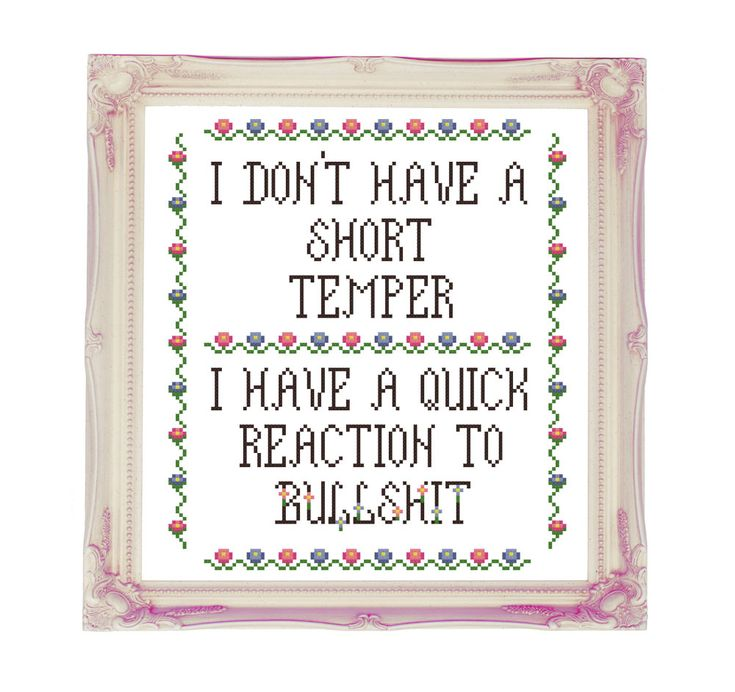 I Don't Have A Short Temper Bulls**t - Rude Mature Subversive Funny - Counted Cross Stitch Pattern - Instant Download by Valethea on Etsy