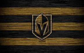 Herunterladen hintergrundbild vegas golden knights, 4k, nhl, hockey-club, western conference, usa, logo, holz-textur, hockey, pacific division