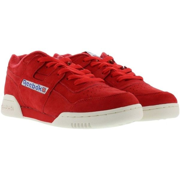 Reebok Workout Plus Vintage Sneakers ($88) ❤ liked on Polyvore featuring shoes, sneakers, red, vintage sneakers, red trainers, red shoes, reebok sneakers and vintage red shoes