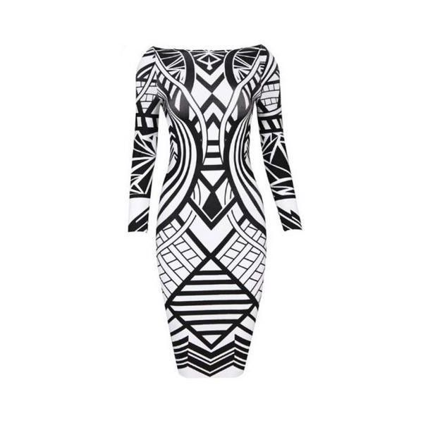 Women's Tribal Aztec Black White Cocktail Tight Bodycon Dress (285 HRK) ❤ liked on Polyvore featuring dresses, black white dress, aztec bodycon dress, bodycon dress, black and white evening dresses and holiday dresses