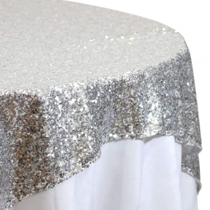 Sequin Table Overlay 72 X 72 Silver 405009 Wholesale