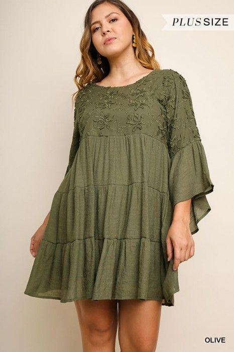 17f9c7879d3 Umgee Plus Olive Floral Embroidered Dress with Bell Sleeves