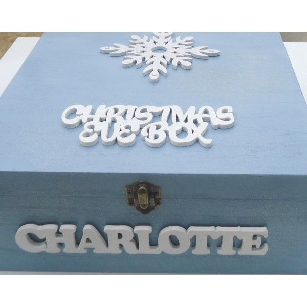 Look at this beautiful Christmas Eve box! You could get one of our popular plain wooden boxes, paint it and decorate it with our plain wooden letters and snowflakes. Get more DIY inspiration from www.craftmill.co.uk