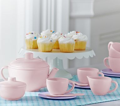 Green Toys Tea Set - Made from food-safe, 100% recycled plastic milk containers.