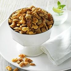 Soy Vay Snack Mix Recipe Lunch and Snacks with rice cereal squares, Goldfish Crackers, sesame sticks, Soy Vay® Veri Veri Teriyaki® Marinade & Sauce, peanuts, butter
