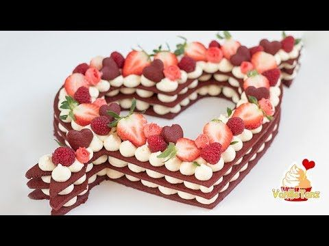 😍Trend Cake 2018! Red Velvet Cream Tarte, Number Cake ❤️ Valentinstag Edition - YouTube