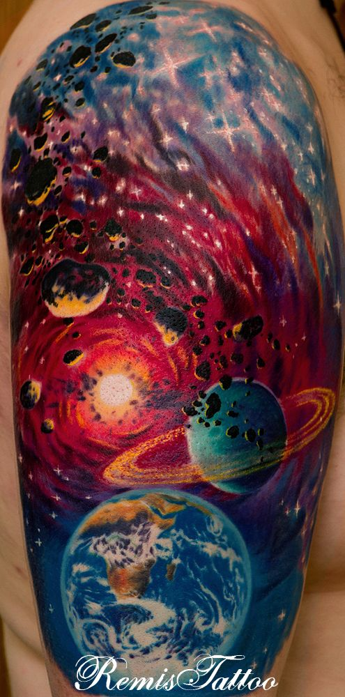 Outer space tattoos, color tattoo by Remis remistattoo realistic tattoo color ink ideas designs inspiration