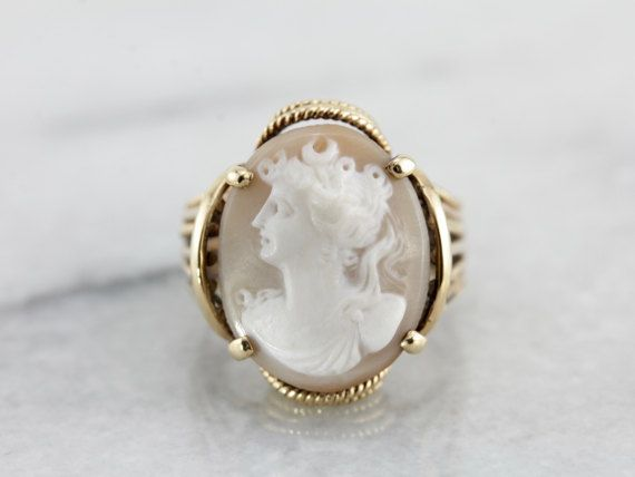 Amazing Vintage Cameo Ring Intricate Statement Piece by MSJewelers