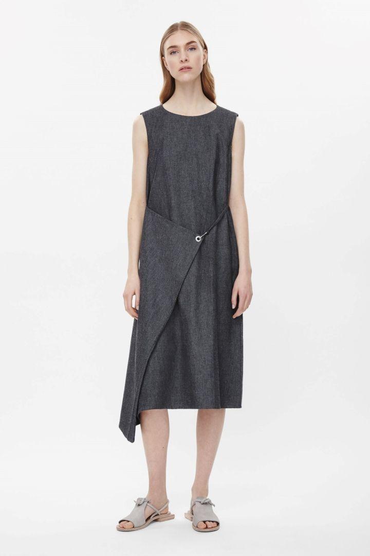 Fold-over denim dress