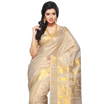 Off White and Golden Color Shot Tone Cotton Kerala Kasavu Saree with Blouse