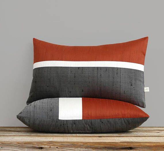 Silk Horizon Line Pillow Cover In Copper Cream Charcoal Gray
