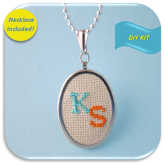 Personalized Initial Necklace Cross Stitch DIY Kit by Kailea, $12.95
