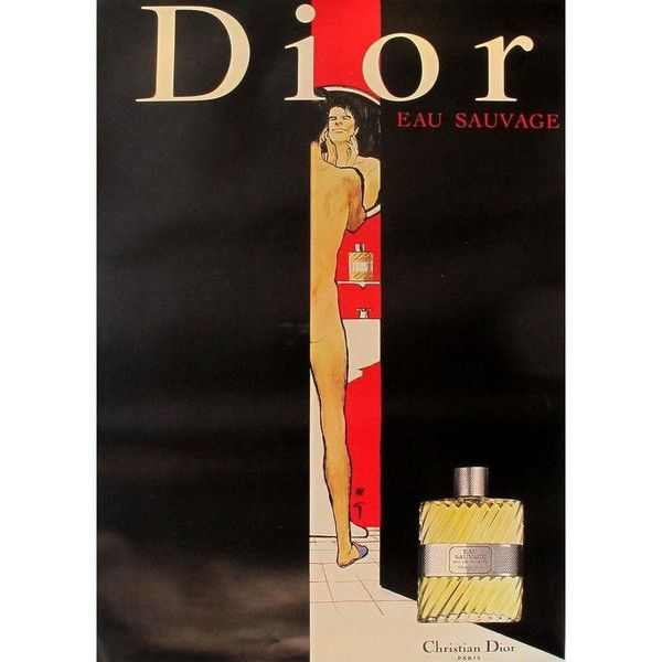 Vintage Christian Dior Eau Sauvage Perfume Poster ($1,200) ❤ liked on Polyvore featuring home, home decor, posters, christian dior, vintage home decor, vintage home accessories and vintage figurines