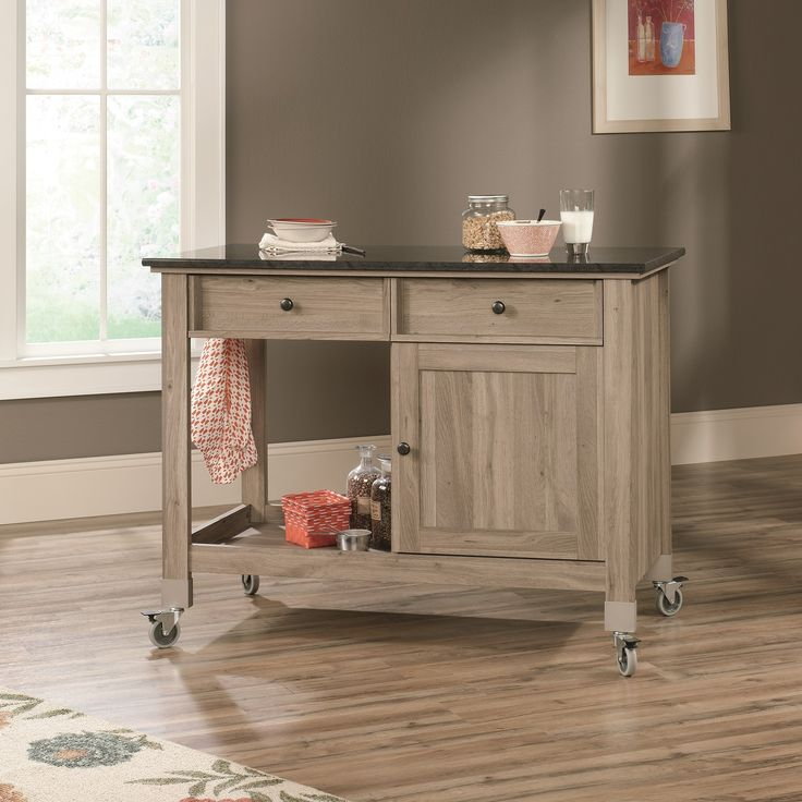 Cottage Kitchen Island with Faux Slate Top